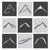 Mountains icons. Black and white icons mountains stock illustration