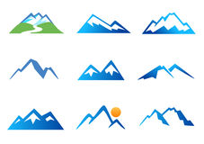 Mountains Icons. Collection of icons symbolizing high mountains Royalty Free Stock Images