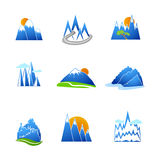 Mountains icons set Royalty Free Stock Photo
