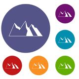 Mountains icons set. In flat circle reb, blue and green color for web Royalty Free Stock Photography