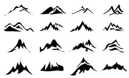 Mountains Icons Set. Vector illustration of mountains black icons set on white background Royalty Free Stock Image
