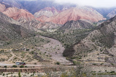 Mountains II. Mountainsides of Jujuy, Argentina lined with cacti and sand Royalty Free Stock Photography