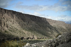 Mountains III. Mountainsides of Jujuy, Argentina lined with cacti and sand Royalty Free Stock Photo