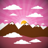 Mountains Illustration with Clouds, Sun Set, Pink Sky Stock Photography
