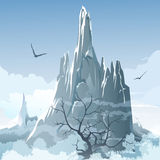 The mountains. Illustration with naked tree against foggy highlands background Stock Photo