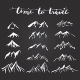 Mountains illustration silhouettes set for making your own logo, badge, label design. Royalty Free Stock Photos