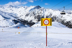 Mountains in ischgl. Winter sports in the mountains of ischgl Stock Photo