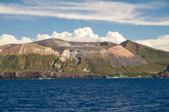 Mountains on the Island. One of the Aeolian (Lipari) Islands during daylight Royalty Free Stock Images