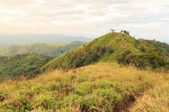 Mountains and Jungle with Mist in Foggy Weather in (Khao Chang Puak) Thailand. Royalty Free Stock Photos