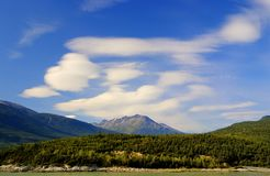 Mountains in Ketchikan, Alaska. Landscape with water, trees and mountains near Ketchikan, Alaska royalty free stock images