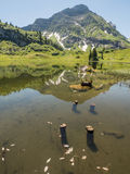 Mountains and the Koerbersee lake around the village Schroecken Stock Photography