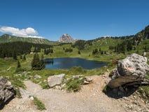 Mountains and the Koerbersee lake around the village Schroecken Stock Photos