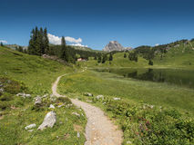 Mountains and the Koerbersee lake around the village Schroecken Royalty Free Stock Images