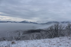 Mountains. The mountains of Lago-Naki fog clouds winter ridge stock photo
