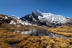 Mountains with a lagoon in the Cordillera Vilcanota, Andes Mountains, Peru stock photo