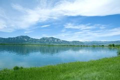 Mountains and lake. View of boulder colorado mountains over lake Stock Photos