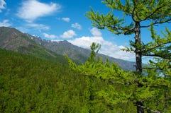 Mountains on Lake Baikal. Blue sky, sun day royalty free stock image
