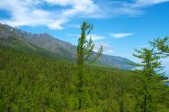Mountains on Lake Baikal. Blue sky, sun day stock photo