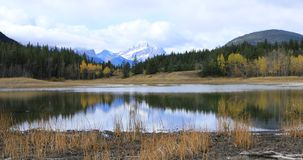 Timelapse of Lake and Mountains at Bowman Valley Provincial Park, Canada 4K stock footage