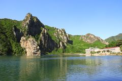 Mountains and Lake of clothing, North Korea DPRK stock images
