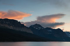 Mountains, Lake and Clouds at Twilight Royalty Free Stock Photography