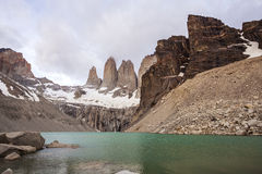 Mountains and lake in cloudy day in Chile. National Park Torres del Paine in southern Chile, Patagonia Stock Images