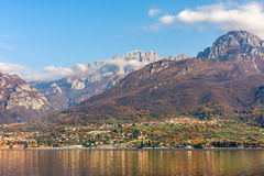 Mountains and Lake Como in Italy. Stock Images