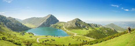 Mountains and Lake Enol in Picos de Europa, Asturias, Spain. Stock Photo
