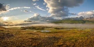 Mountains lake fog sunrise panorama royalty free stock photo