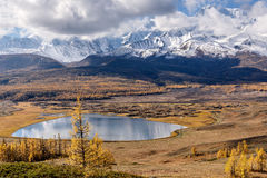 Mountains lake larch snow clouds Royalty Free Stock Images