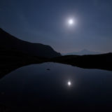 Mountains and lake of the lausfer under the moon Stock Photos
