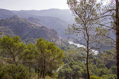 Mountains with lake in Malaga Royalty Free Stock Photos