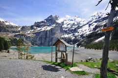 Mountains and Lake Oeschinensee Stock Image