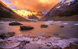 Mountains with lake in patagonia. Near El Chalten, Argentina in sun rise stock image