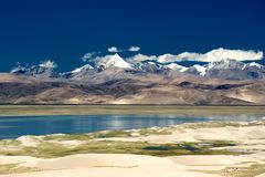 Mountains and lake in Qinghai-Tibet Plateau. ,Himalaya, cloudy Royalty Free Stock Image