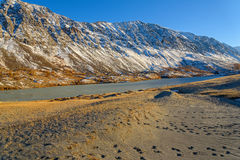 Mountains lake sand snow autumn Royalty Free Stock Photography