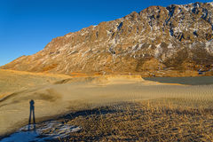 Mountains lake sand snow autumn Stock Photo