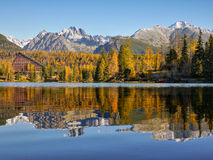 Mountains Lake, Scenic Landscape, Autumn Colors Stock Photo