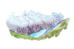 Mountains lake snow coverd peaks watercolour illustration. Royalty Free Stock Photos