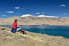 Mountains Lake Tso Moriri In Ladakh In India Stock Photos