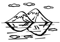 mountains and lake vector illustration Stock Image