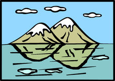 Mountains and lake vector illustration Royalty Free Stock Image