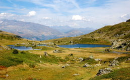 Mountains lakes in French Alps. Massif Taillefer Stock Photos