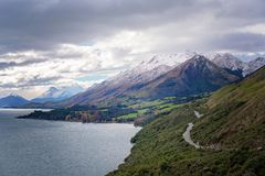 The Mountains And The Lakes In New Zealand stock photography