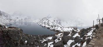 Mountains lakes snowing stormy weather, Gosaikunda Nepal panorama. Royalty Free Stock Photo