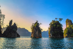 This Mountains is Landmark at Chew Larn lake, Beautiful lake. And mountain at southern thailand.Beautiful lake moutain and sky Royalty Free Stock Image