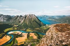 Mountains landscape aerial view fields and river in Norway Royalty Free Stock Photography