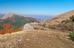 Mountains landscape at autumn season - mountain pasture Demerdzhi, Crimean peninsula Royalty Free Stock Photo