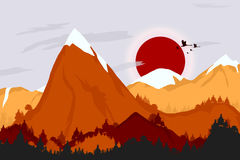 Mountains landscape background. Sunset over a mountains. Cartoon landscape royalty free illustration