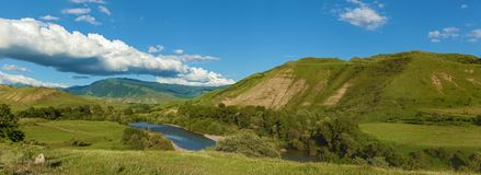 Mountains landscape. Mountains landscape, center of the river. Mountains landscape Royalty Free Stock Photo